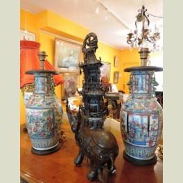 Lampes porcelaine Canton